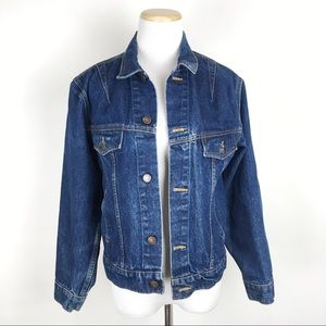 VTG Dark Wash Denim Jacket Fade Distressed Trucker